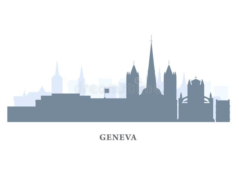 Siluetta della città di Ginevra, Svizzera - vecchia vista della città, panorama della città di Ginevra royalty illustrazione gratis