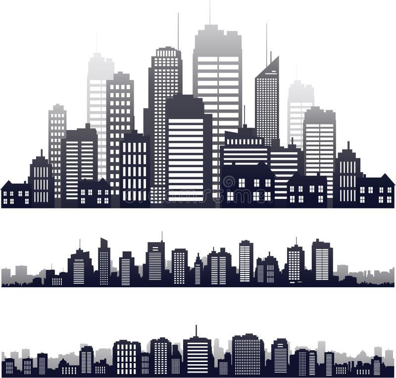 Siluetta della città di vettore isolata su bianco royalty illustrazione gratis