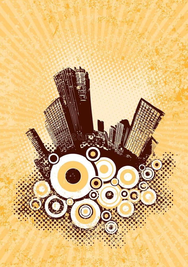 Siluetta della città marrone. illustrazione vettoriale