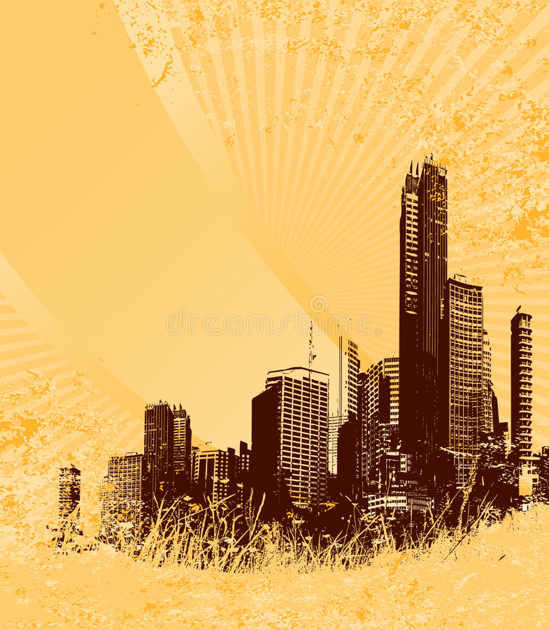 Siluetta della città marrone royalty illustrazione gratis