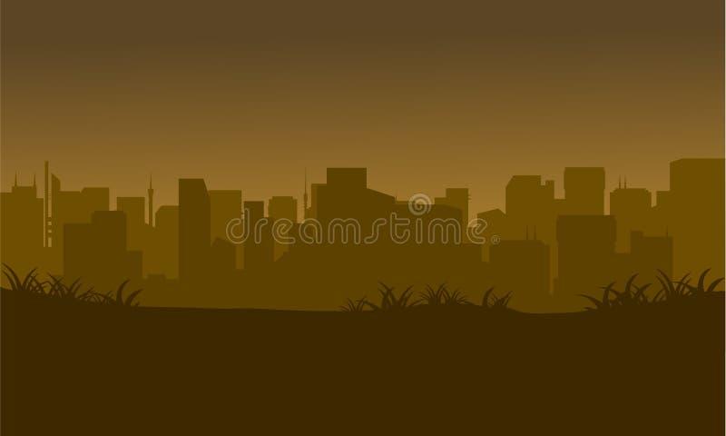 Siluetta della città nei campi royalty illustrazione gratis