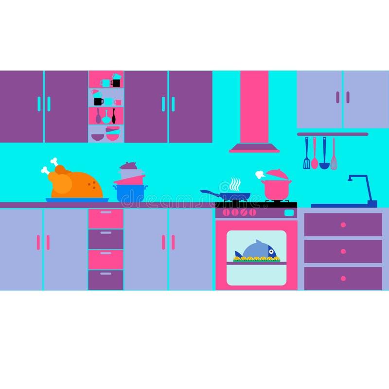 Siluetta della cucina dell'alimento che cucina l'attrezzatura della preparazione dell'articolo da cucina illustrazione di stock