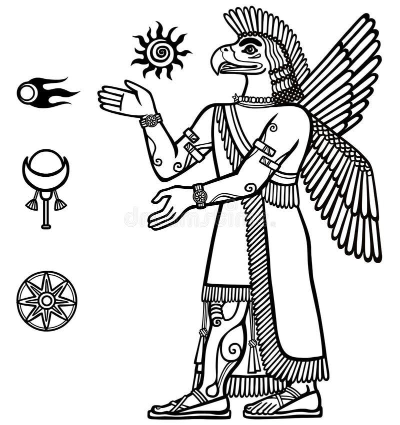 Siluetta della divinità Assyrian con un corpo della persona e della testa di un uccello Carattere di mitologia sumerica illustrazione vettoriale
