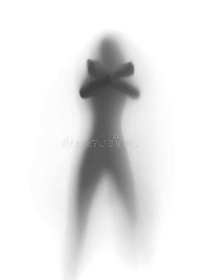 Siluetta della donna, braccia nella X fotografia stock