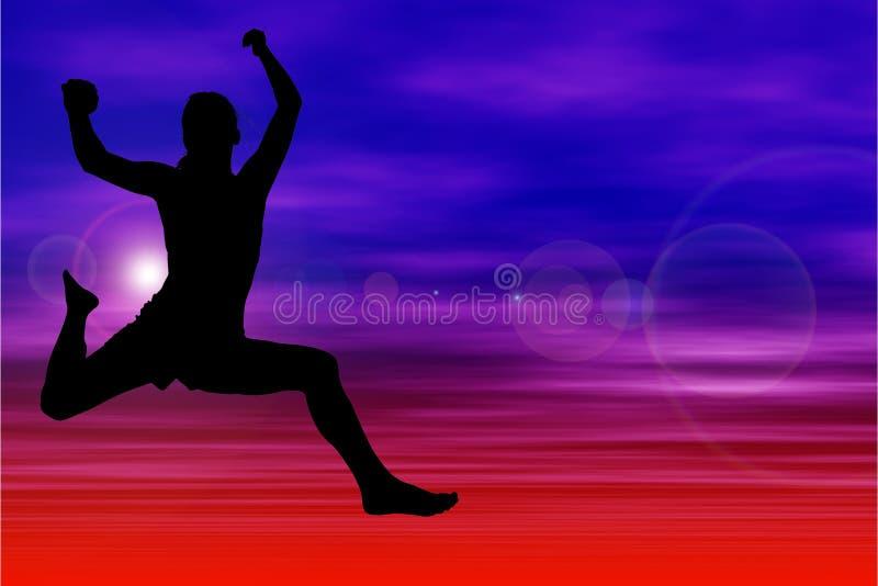 Siluetta della donna che salta contro il cielo illustrazione vettoriale