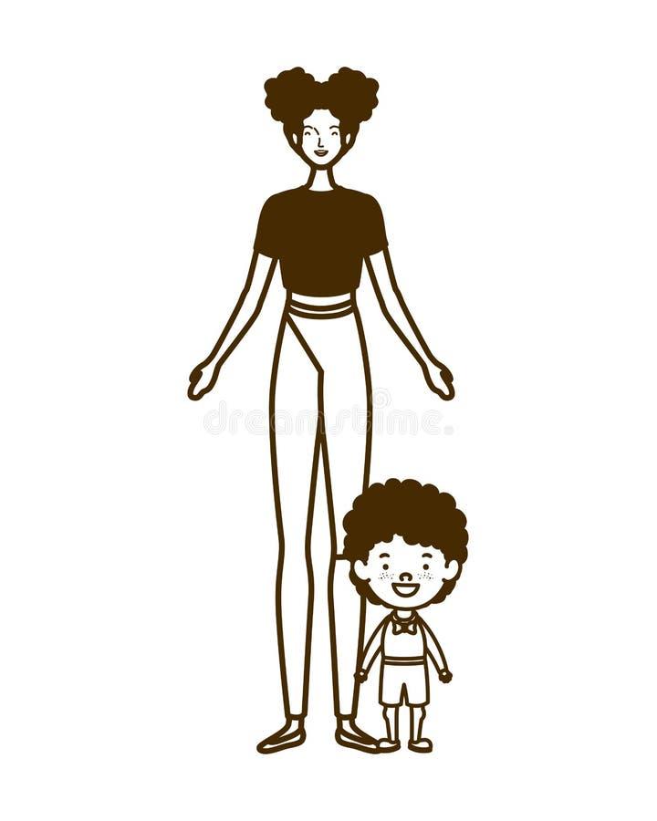 Siluetta della donna con il figlio di nuovo a scuola royalty illustrazione gratis
