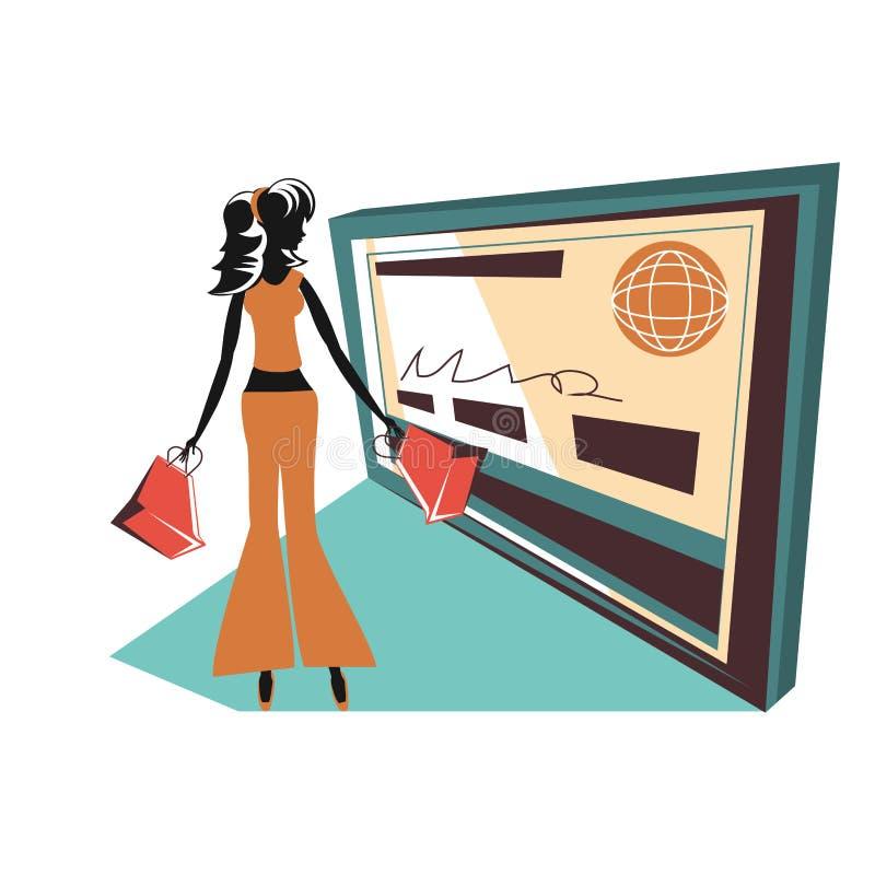 Siluetta della donna con il sacchetto della spesa e la carta di credito illustrazione di stock