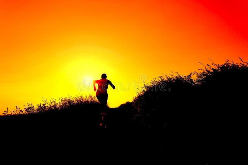 Siluetta della donna con un alto corrente del cane un percorso della ghiaia al tramonto fotografie stock