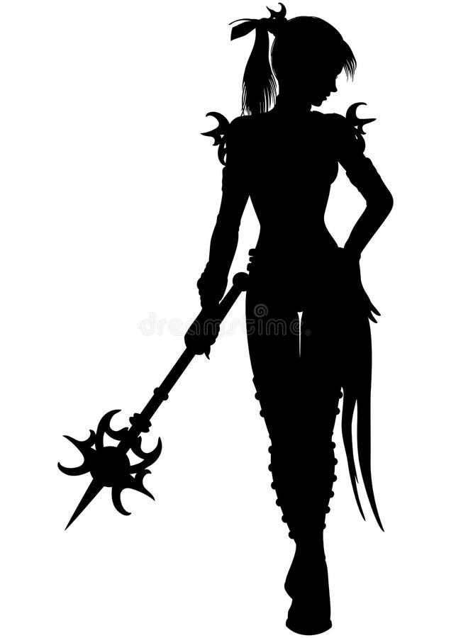 Siluetta della donna del guerriero dello stregone illustrazione di stock