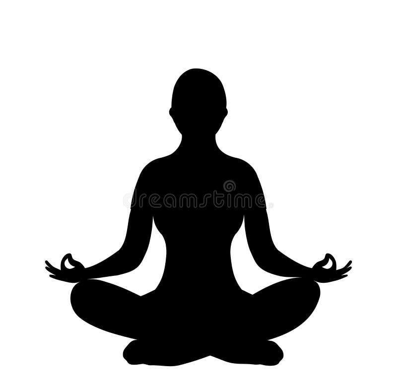 Siluetta della donna della posa di yoga del loto illustrazione vettoriale
