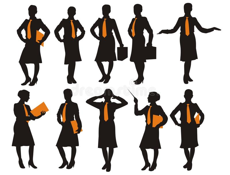 Siluetta della donna di affari fotografie stock