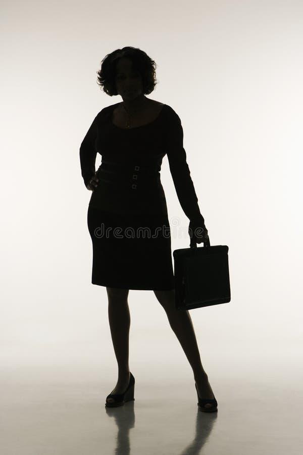 Siluetta della donna di affari. fotografie stock