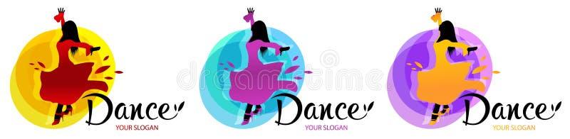 Siluetta della donna di dancing Modello di progettazioni di logo di ballo Elementi di multi icone colorate di ballo Icona semplic royalty illustrazione gratis