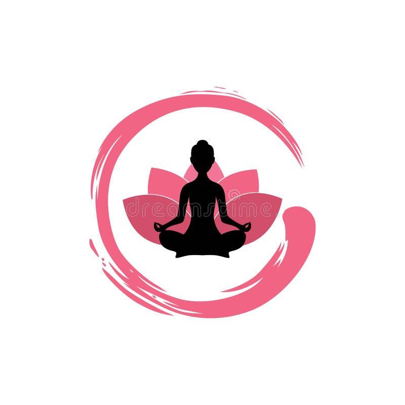 Siluetta della donna di yoga, Lotus Flower con Zen Logo Design illustrazione vettoriale