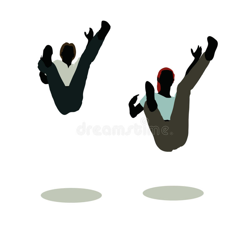 siluetta della donna e dell'uomo nella caduta tranquilla di posa royalty illustrazione gratis