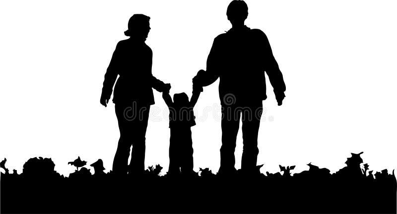 Siluetta della famiglia illustrazione di stock