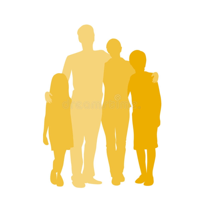Siluetta della famiglia, coppia integrale con due illustrazione di stock
