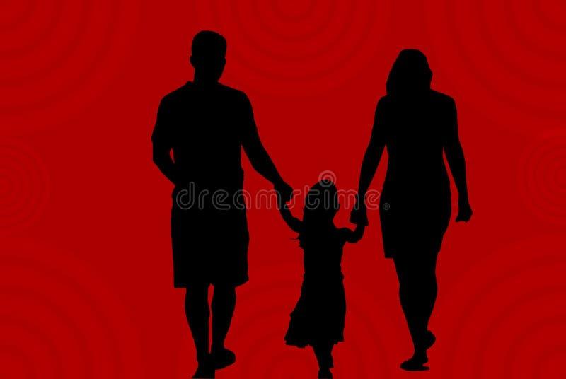 Siluetta della famiglia su colore rosso royalty illustrazione gratis