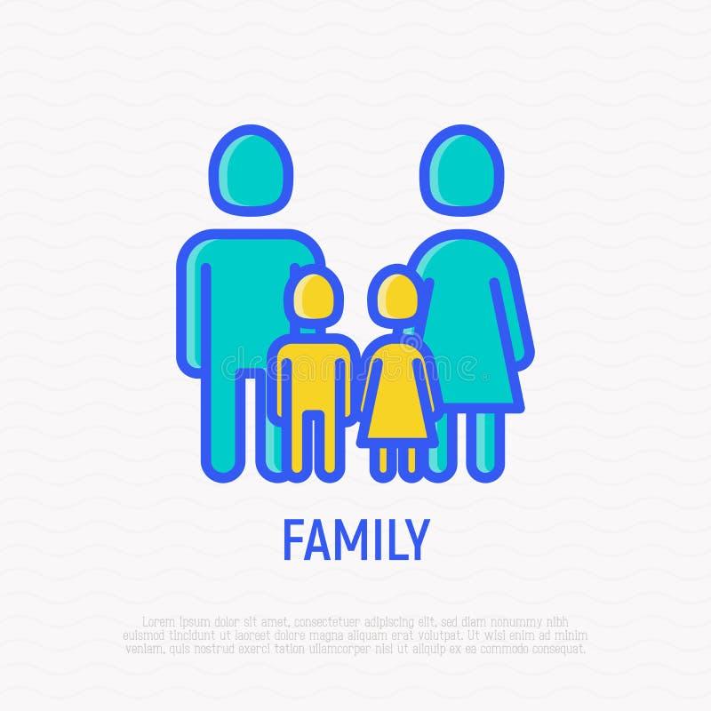 Siluetta della famiglia Uomo, donna e due bambini: ragazzo e ragazza illustrazione vettoriale
