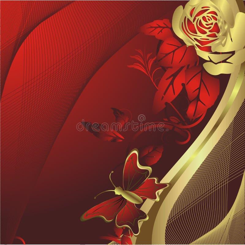 Siluetta della farfalla e della Rosa royalty illustrazione gratis