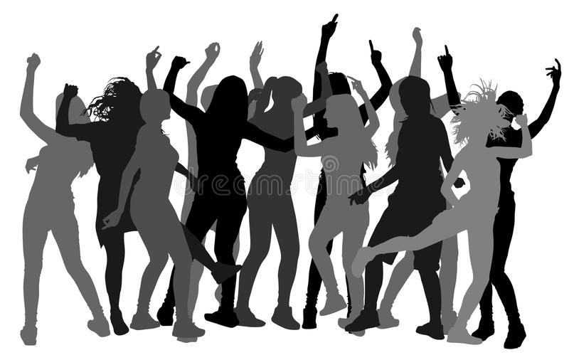 Siluetta della gente del ballerino del partito, notte della ragazza illustrazione di stock