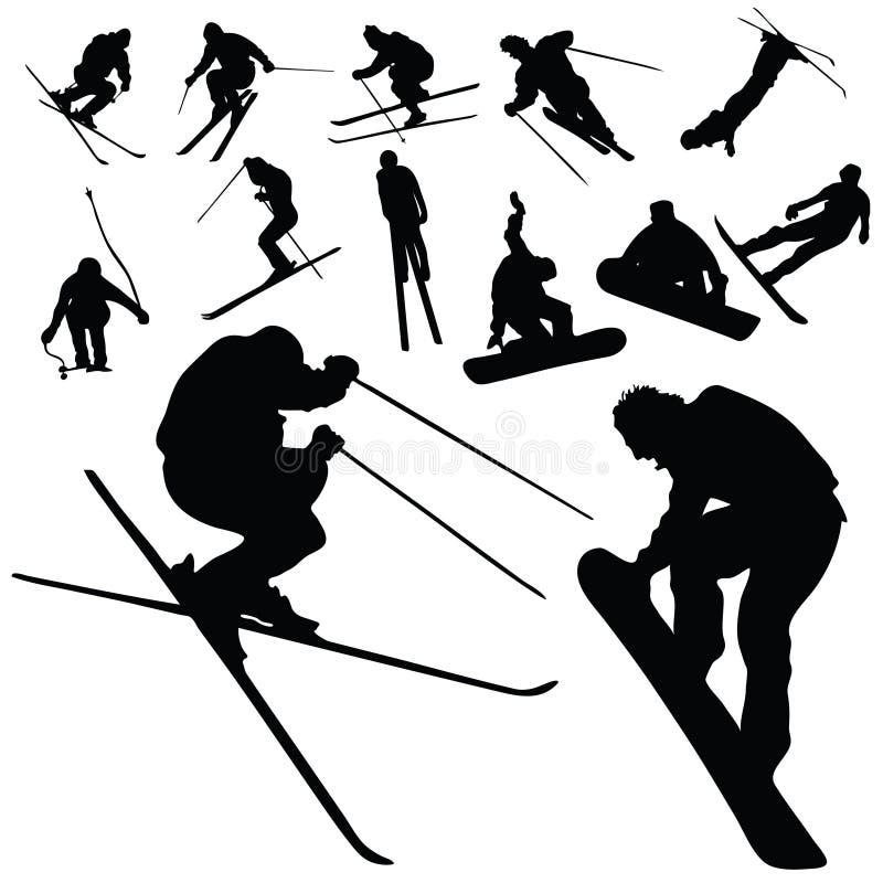 Siluetta della gente di snowboard e dello sci royalty illustrazione gratis