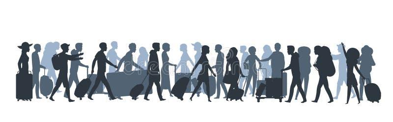 Siluetta della gente di viaggio Turisti della famiglia che comperano con le grandi borse, uomo d'affari con i bagagli della valig illustrazione vettoriale