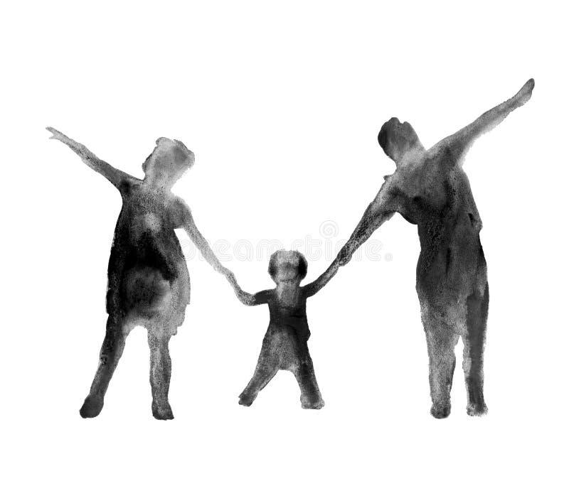 Siluetta della gente Una famiglia watercolor illustrazione vettoriale