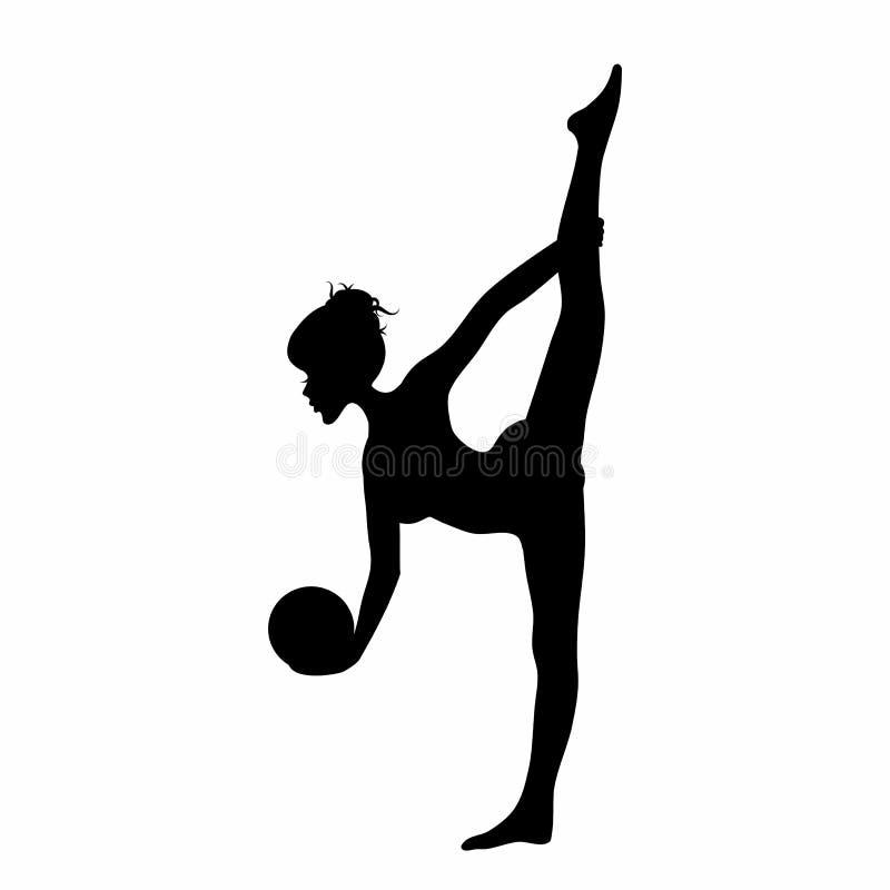Siluetta della giovane donna che fa gli esercizi rhytmic di ginnastica con la palla isolata su bianco royalty illustrazione gratis