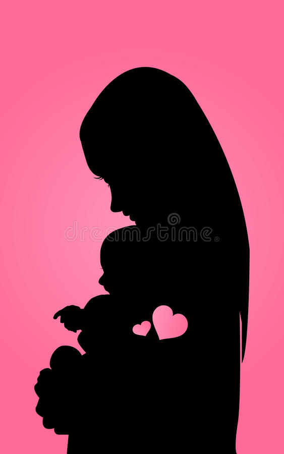 Siluetta della madre con il bambino royalty illustrazione gratis