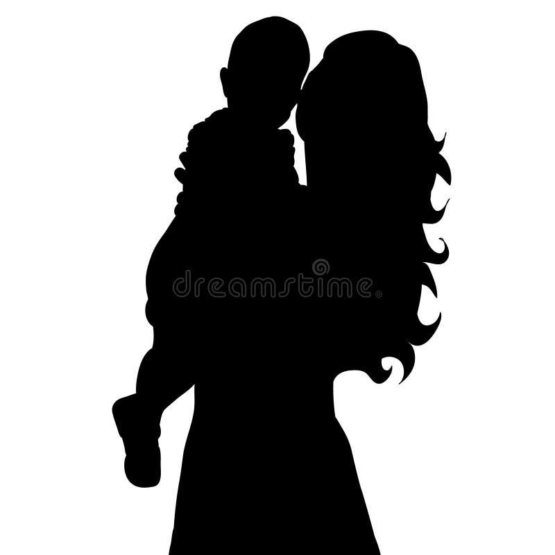 Siluetta della madre e del bambino, maternità illustrazione di stock
