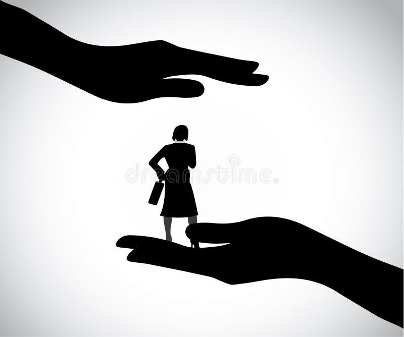 Siluetta della mano che protegge la donna astuta professionale di affari royalty illustrazione gratis
