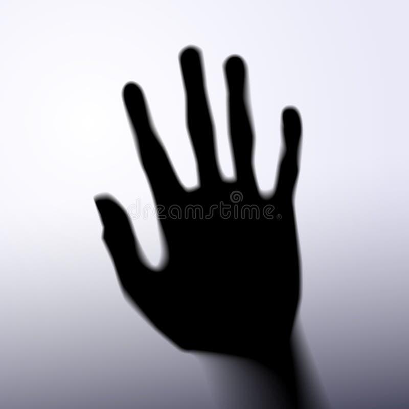 Siluetta della mano con vetro fotografie stock libere da diritti