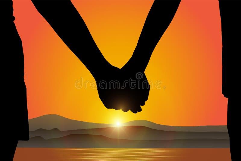 Siluetta della mano della tenuta della donna e dell'uomo alla spiaggia sul fondo di alba illustrazione vettoriale