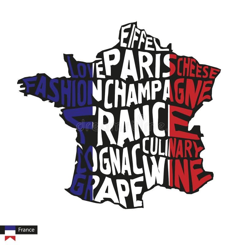 Siluetta della mappa di tipografia della Francia nei colori della bandiera e del nero illustrazione di stock