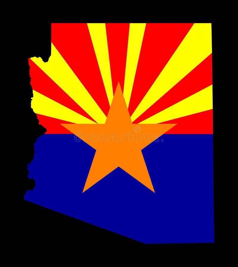 Siluetta della mappa di vettore dell'Arizona e bandiera di vettore illustrazione di stock