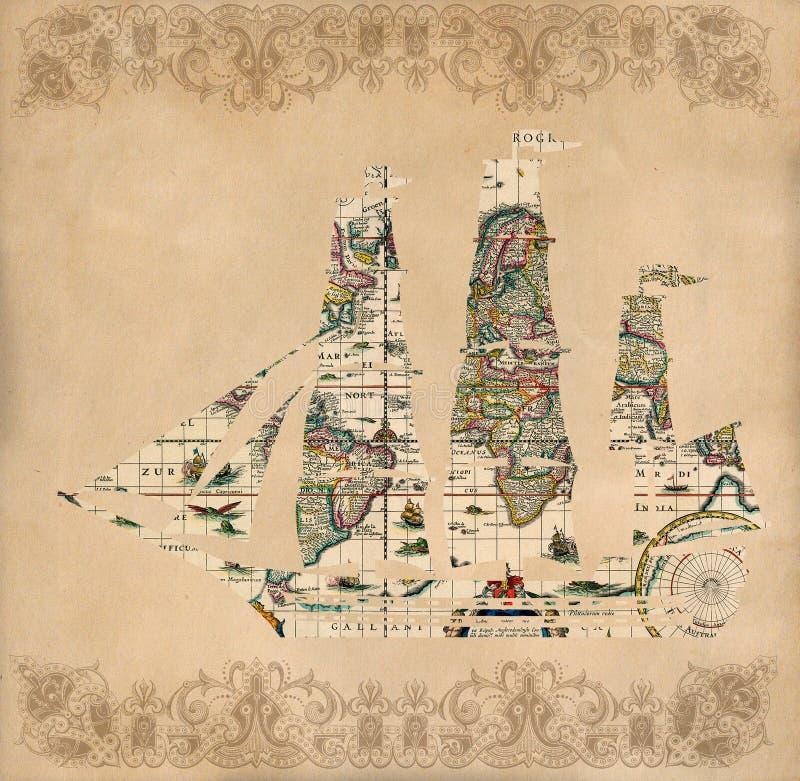 Siluetta della nave di navigazione sopra la mappa antica - retro cartolina royalty illustrazione gratis