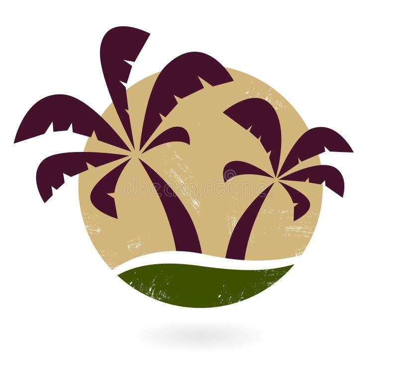 Siluetta della palma dell'annata illustrazione di stock
