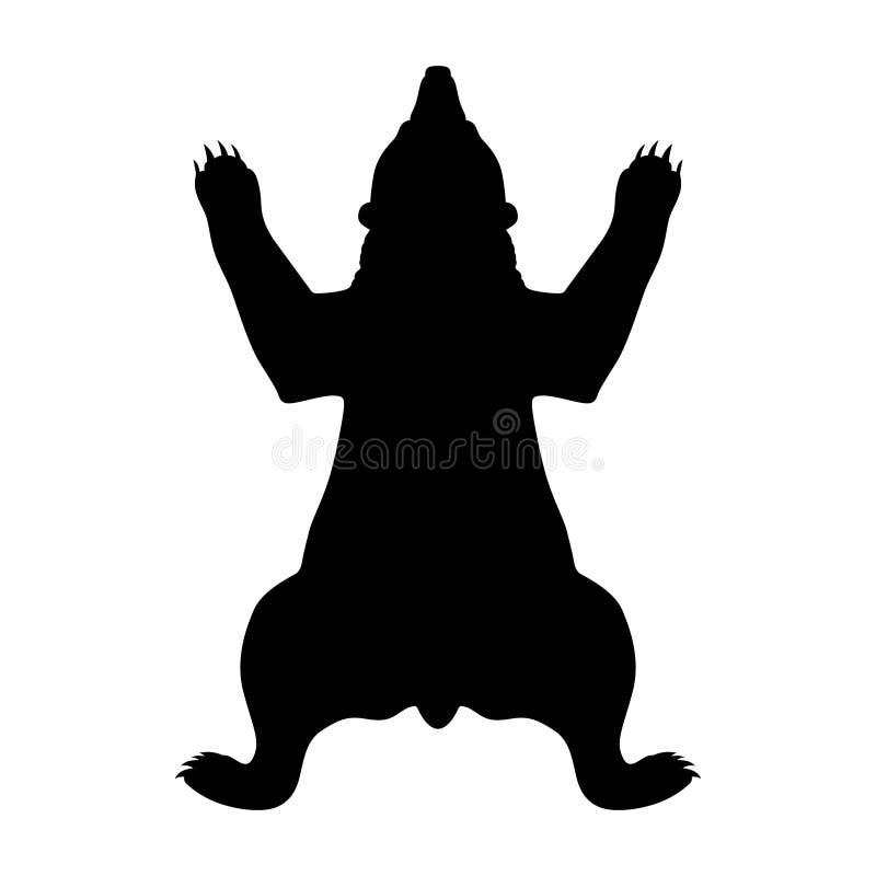 Siluetta della pelle dell'orso illustrazione vettoriale