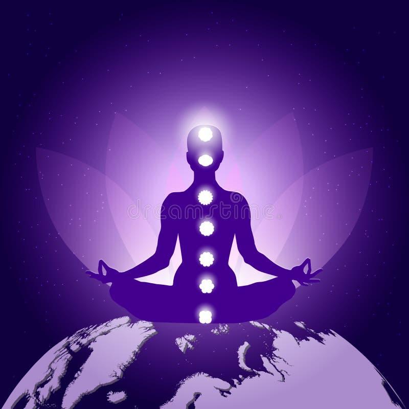 Siluetta della persona in asana del loto di yoga che si siede sul pianeta Terra su fondo porpora blu scuro con il fiore di loto,  illustrazione di stock