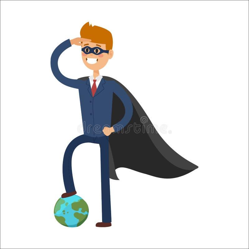 Siluetta della persona dell'uomo d'affari di concetto di potere del fumetto di successo dell'illustrazione di vettore del caratte illustrazione vettoriale