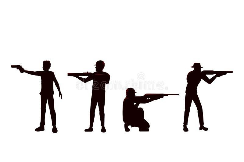 Siluetta della pistola della tenuta dell'uomo nella posizione della fucilazione di differenza illustrazione di stock