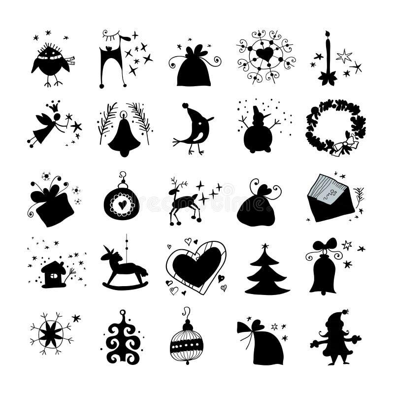 Siluetta della raccolta delle icone di inverno e di Natale illustrazione di stock