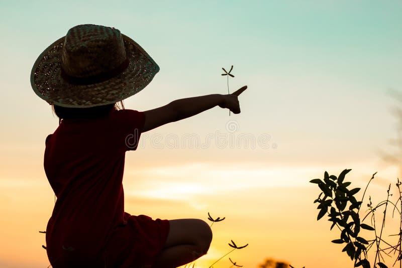 siluetta della ragazza che si siede e che indica il cielo, libertà fotografie stock libere da diritti