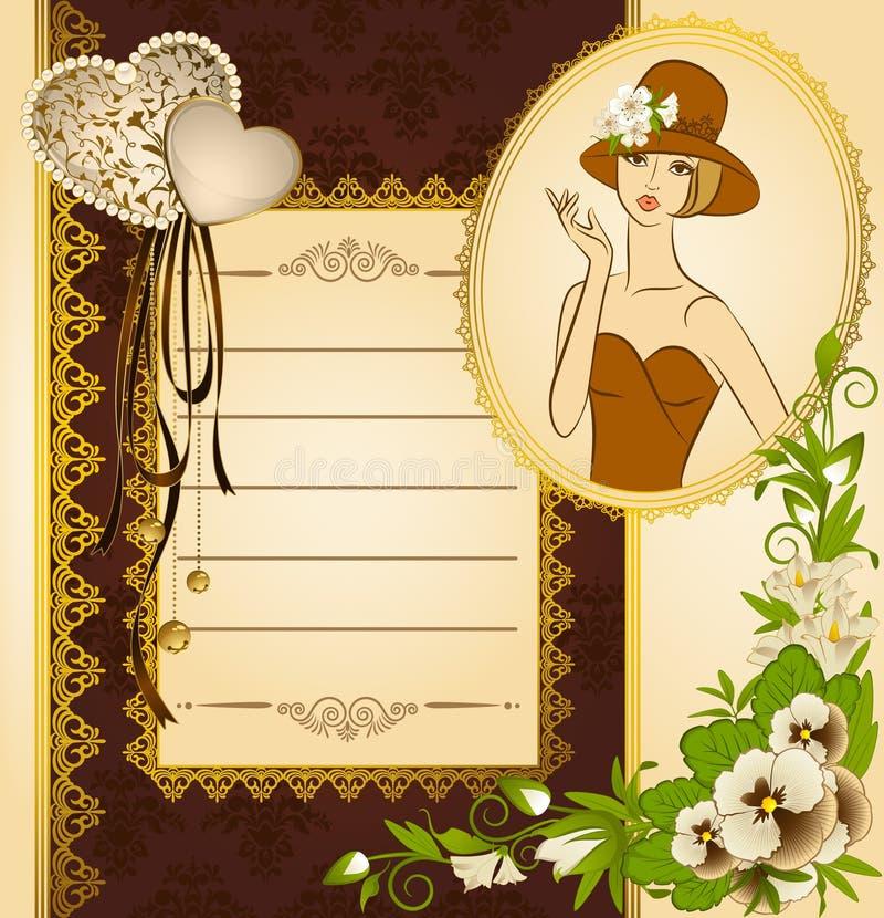 Siluetta della ragazza con i fiori illustrazione vettoriale