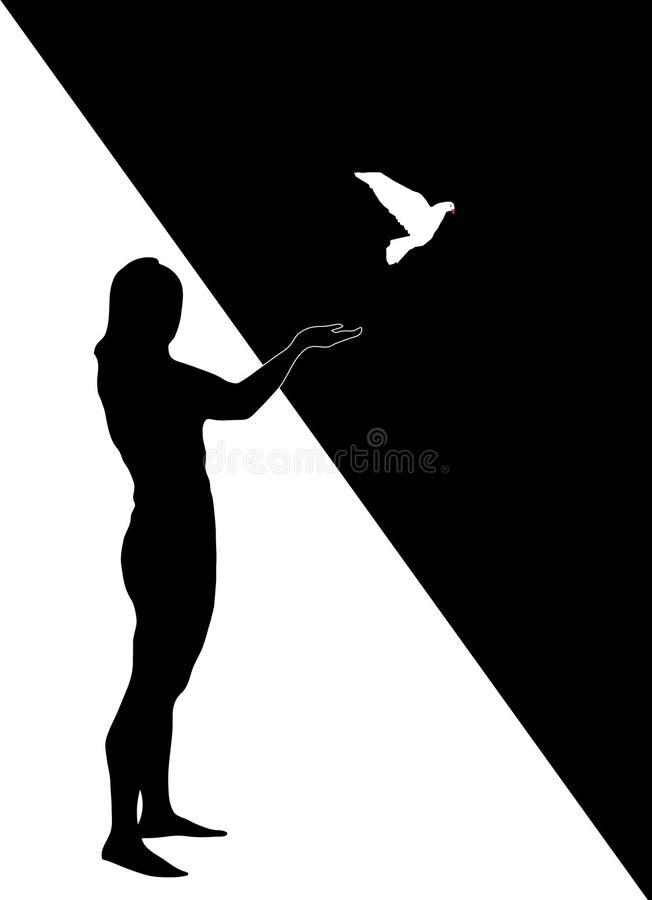 Siluetta della ragazza con la colomba immagine stock