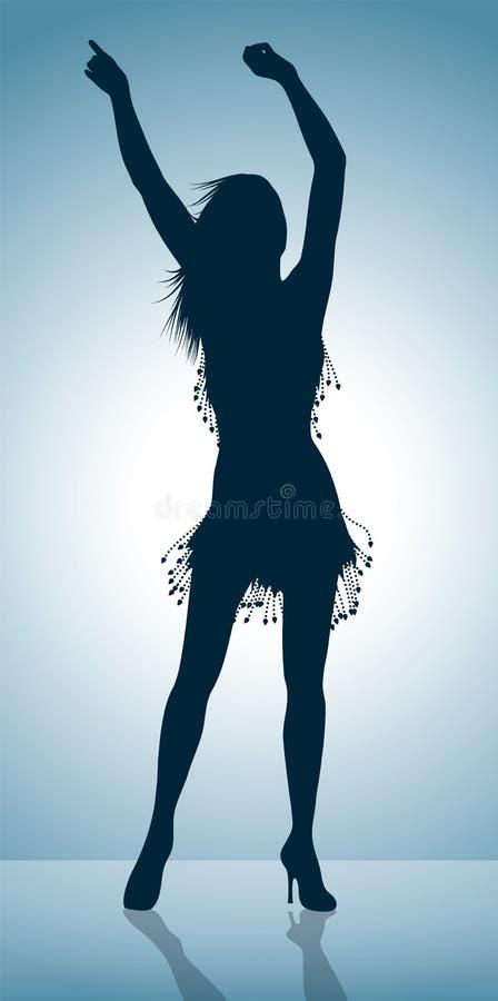 Siluetta della ragazza di Dancing illustrazione di stock
