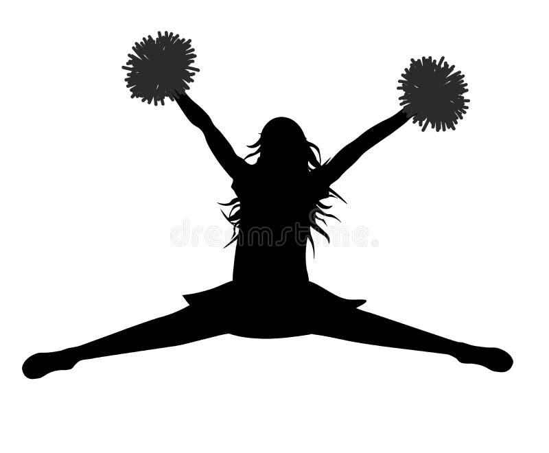 Siluetta della ragazza di salto con il salto dello stredl dei pompon, cheerleading Illustrazione di vettore royalty illustrazione gratis