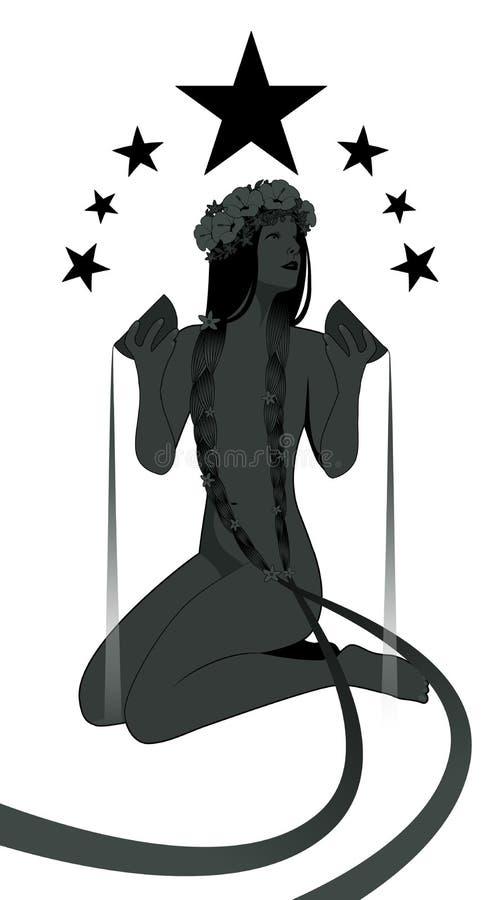 Siluetta della ragazza nuda sotto sette stelle, acqua di versamento da due ciotole dorate illustrazione di stock