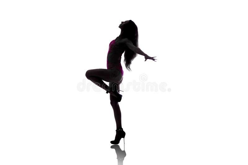 Siluetta della ragazza sexy del ballerino immagini stock libere da diritti